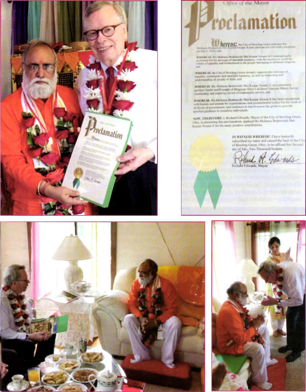 Revered Mahamandleshwar Brahmrishi Shree Kumar Swami Ji being honoured with a Proclamation by Hon'ble Mayor Richard Edwards, City of Bowling Green, Ohio, USA